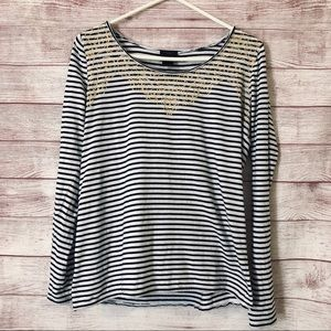 Ann Taylor Striped Tee Gold Detail - Medium